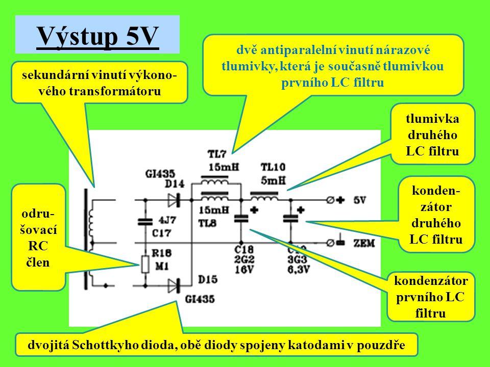 Výstup 5V průřez jádra sekundární vinutí výkono- vého transformátoru odru- šovací RC člen dvojitá Schottkyho dioda, obě diody spojeny katodami v pouzdře dvě antiparalelní vinutí nárazové tlumivky, která je současně tlumivkou prvního LC filtru kondenzátor prvního LC filtru tlumivka druhého LC filtru konden- zátor druhého LC filtru