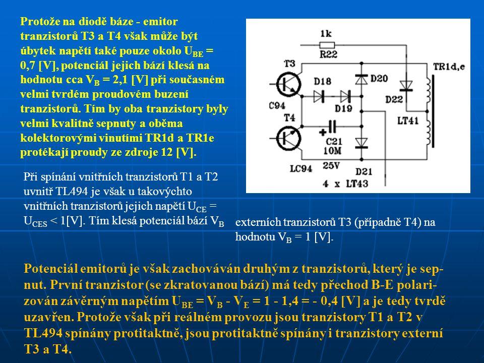 Protože na diodě báze - emitor tranzistorů T3 a T4 však může být úbytek napětí také pouze okolo U BE = 0,7  V , potenciál jejich bází klesá na hodnotu cca V B = 2,1  V  při současném velmi tvrdém proudovém buzení tranzistorů.