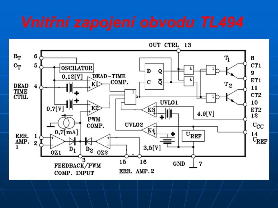 Vnitřní zapojení obvodu TL494