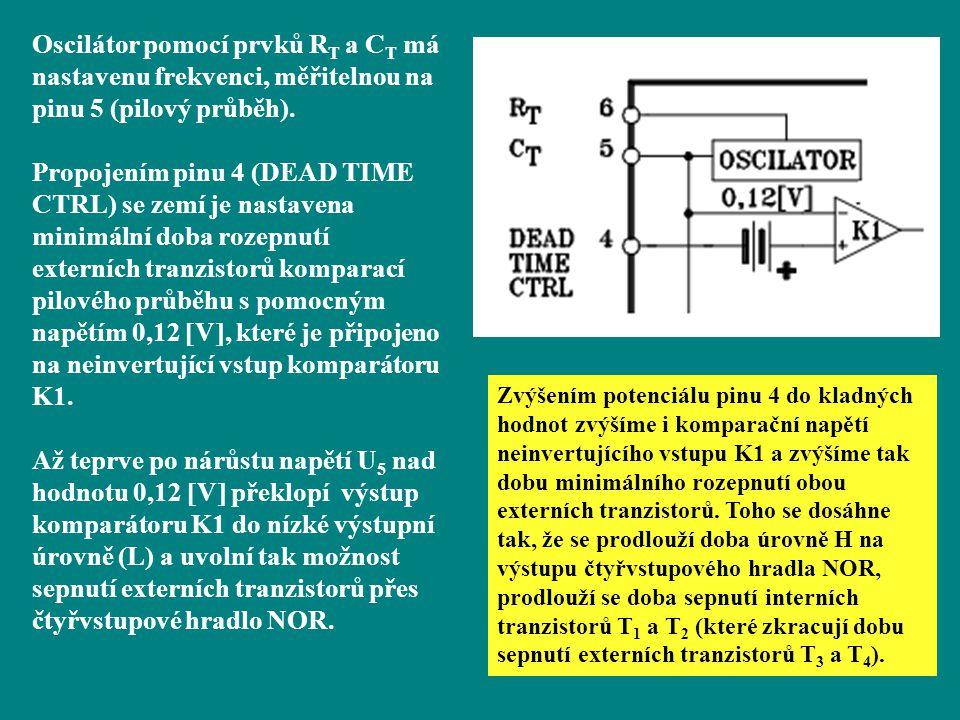 Oscilátor pomocí prvků R T a C T má nastavenu frekvenci, měřitelnou na pinu 5 (pilový průběh). Propojením pinu 4 (DEAD TIME CTRL) se zemí je nastavena
