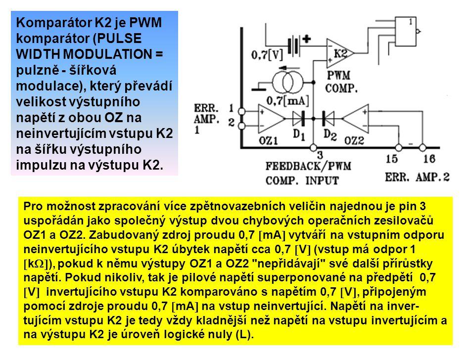 Komparátor K2 je PWM komparátor (PULSE WIDTH MODULATION = pulzně - šířková modulace), který převádí velikost výstupního napětí z obou OZ na neinvertujícím vstupu K2 na šířku výstupního impulzu na výstupu K2.