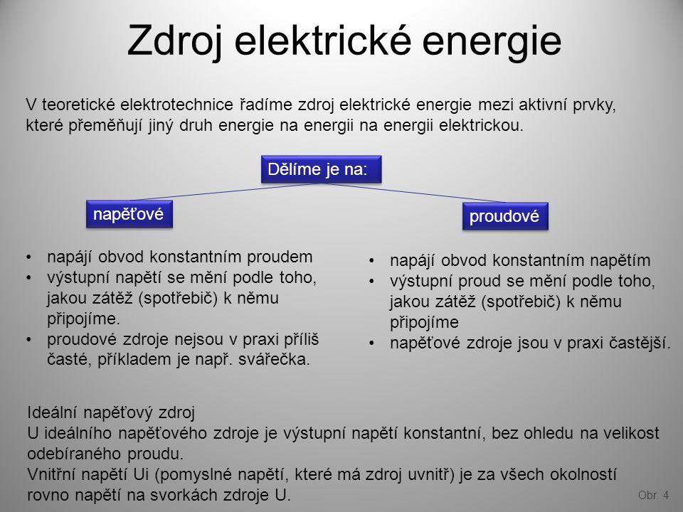 Obr. 4 Zdroj elektrické energie V teoretické elektrotechnice řadíme zdroj elektrické energie mezi aktivní prvky, které přeměňují jiný druh energie na