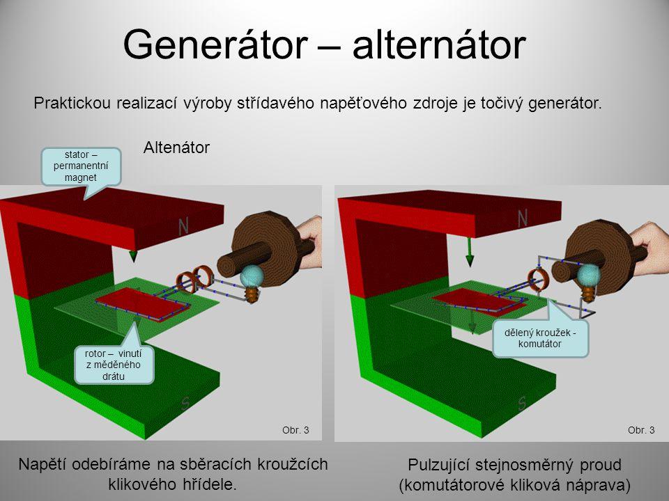 Generátor – alternátor Praktickou realizací výroby střídavého napěťového zdroje je točivý generátor. Obr. 3 Napětí odebíráme na sběracích kroužcích kl