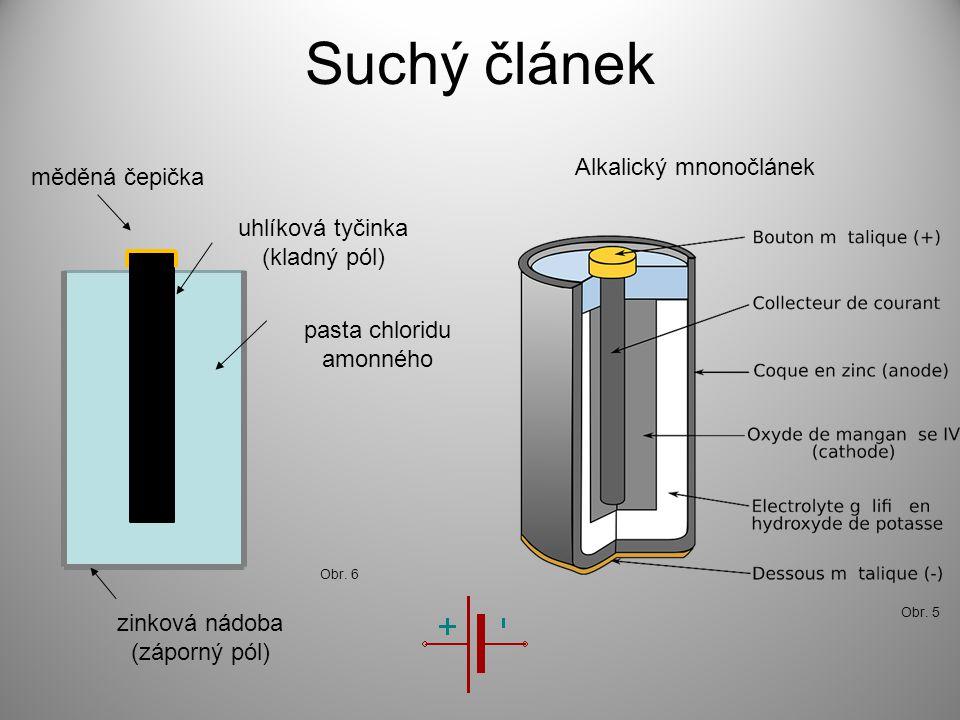 Suchý článek Alkalický mnonočlánek Obr. 5 měděná čepička uhlíková tyčinka (kladný pól) pasta chloridu amonného zinková nádoba (záporný pól) Obr. 6
