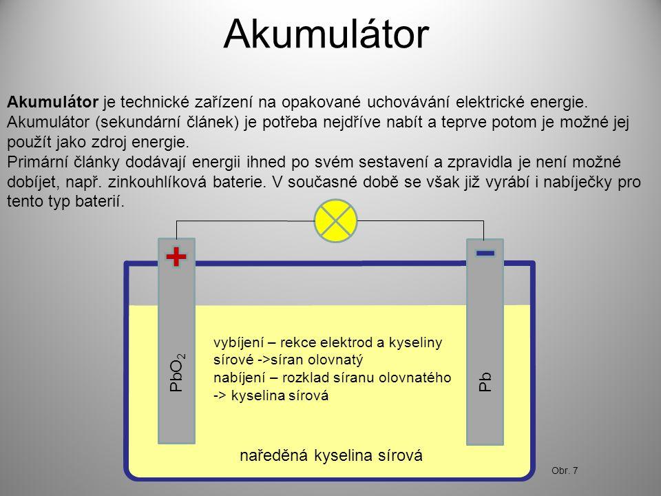Akumulátor Akumulátor je technické zařízení na opakované uchovávání elektrické energie. Akumulátor (sekundární článek) je potřeba nejdříve nabít a tep