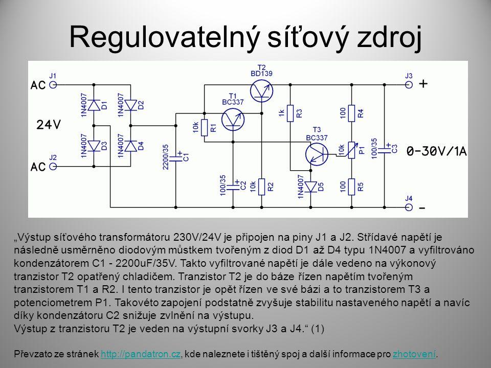 """Regulovatelný síťový zdroj """"Výstup síťového transformátoru 230V/24V je připojen na piny J1 a J2. Střídavé napětí je následně usměrněno diodovým můstke"""