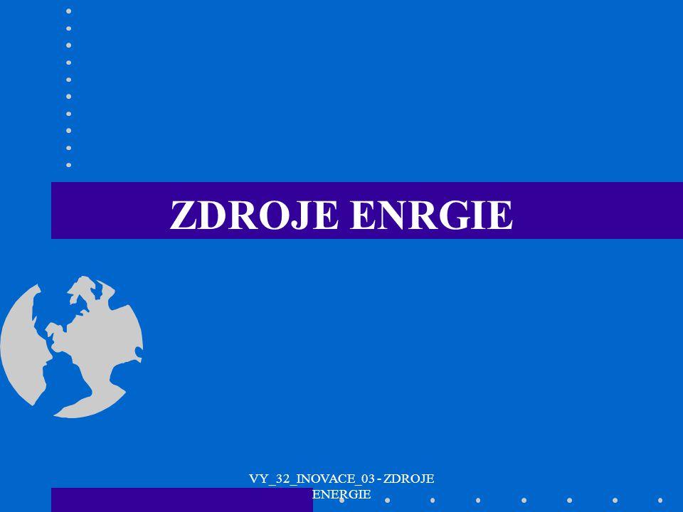 NEOBNOVITELNÉ UHLÍROPAZEMNÍ PLYN JADERNÁ ENERGIE OBNOVITELNÉ SLUNEČNÍ ZÁŘENÍ PRODUKTY FLORY A FAUNY VODNÍ A VĚTRNÉ ZDROJE GEOTERMÁLNÍ TYPY ZDROJŮ ENERGIE VY_32_INOVACE_03 - ZDROJE ENERGIE