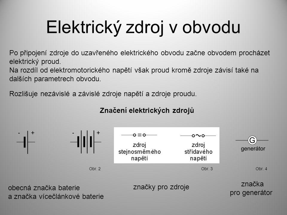 Elektrický zdroj v obvodu Po připojení zdroje do uzavřeného elektrického obvodu začne obvodem procházet elektrický proud.