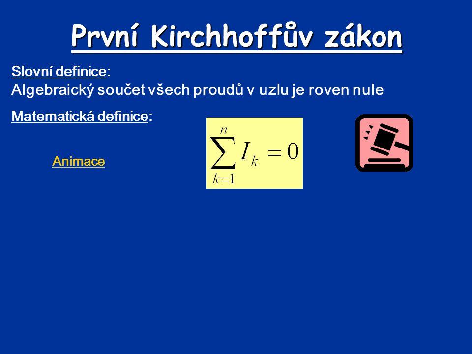 První Kirchhoffův zákon Slovní definice: Algebraický součet všech proudů v uzlu je roven nule Matematická definice: Animace