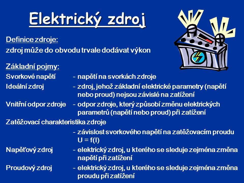 Elektrický zdroj Definice zdroje: zdroj může do obvodu trvale dodávat výkon Základní pojmy: Svorkové napětí-napětí na svorkách zdroje Ideální zdroj-zd