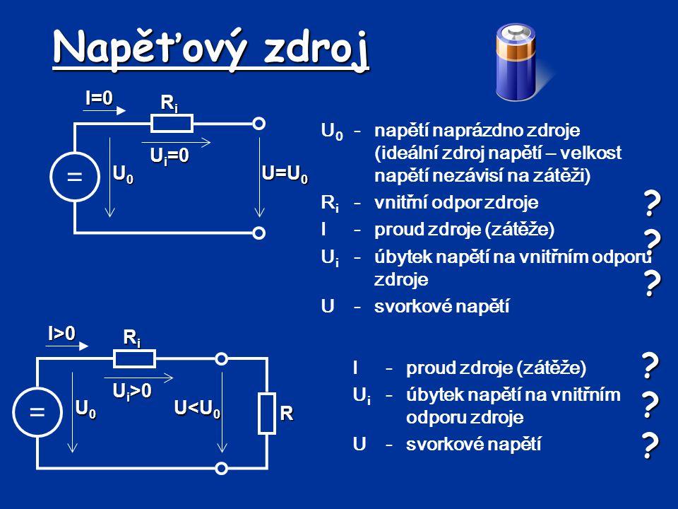 Spojování rezistorů – paralelní zapojení Pro různé rezistory platí: Po připojení zdroje napětí začne obvodem procházet proud.