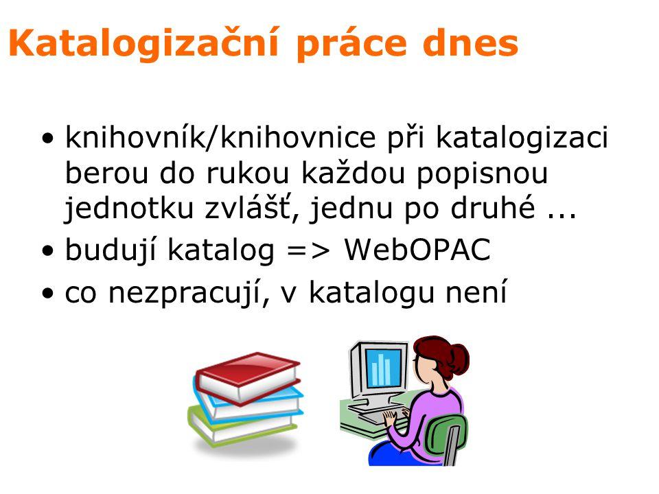 Katalogizační práce dnes knihovník/knihovnice při katalogizaci berou do rukou každou popisnou jednotku zvlášť, jednu po druhé...