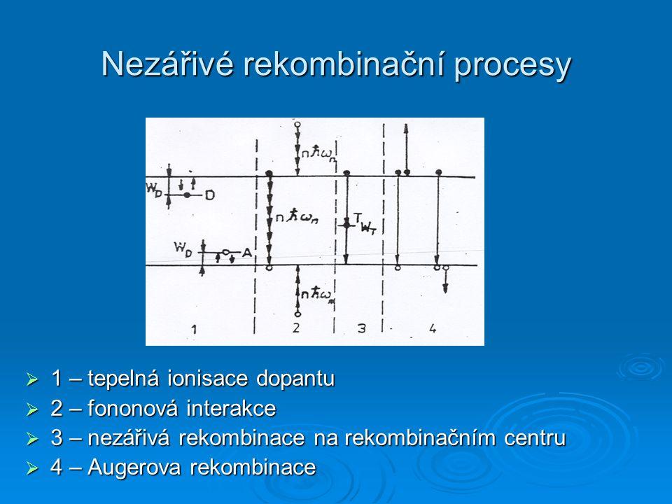 Nezářivé rekombinační procesy  1 – tepelná ionisace dopantu  2 – fononová interakce  3 – nezářivá rekombinace na rekombinačním centru  4 – Augerova rekombinace