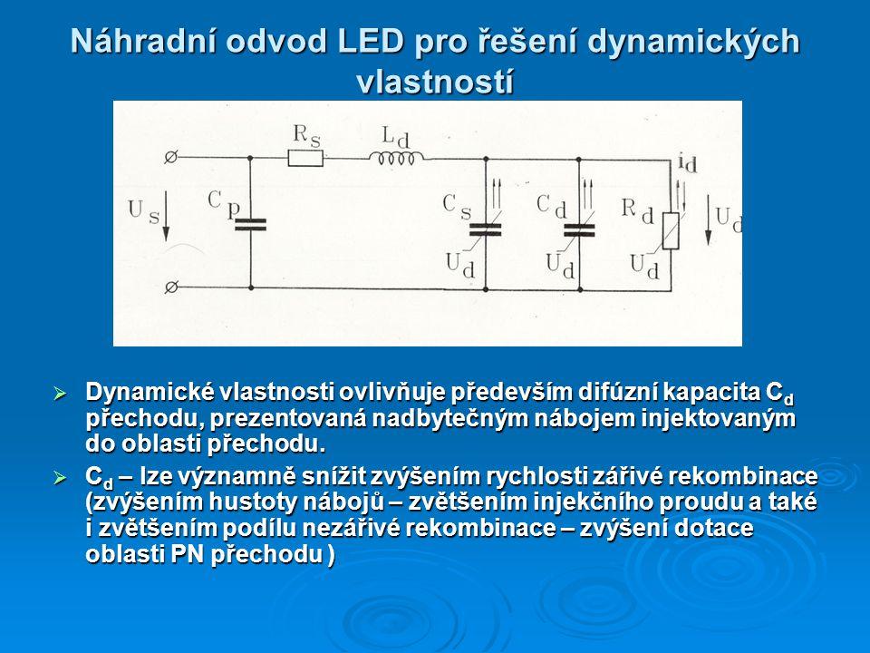 Náhradní odvod LED pro řešení dynamických vlastností  Dynamické vlastnosti ovlivňuje především difúzní kapacita C d přechodu, prezentovaná nadbytečným nábojem injektovaným do oblasti přechodu.