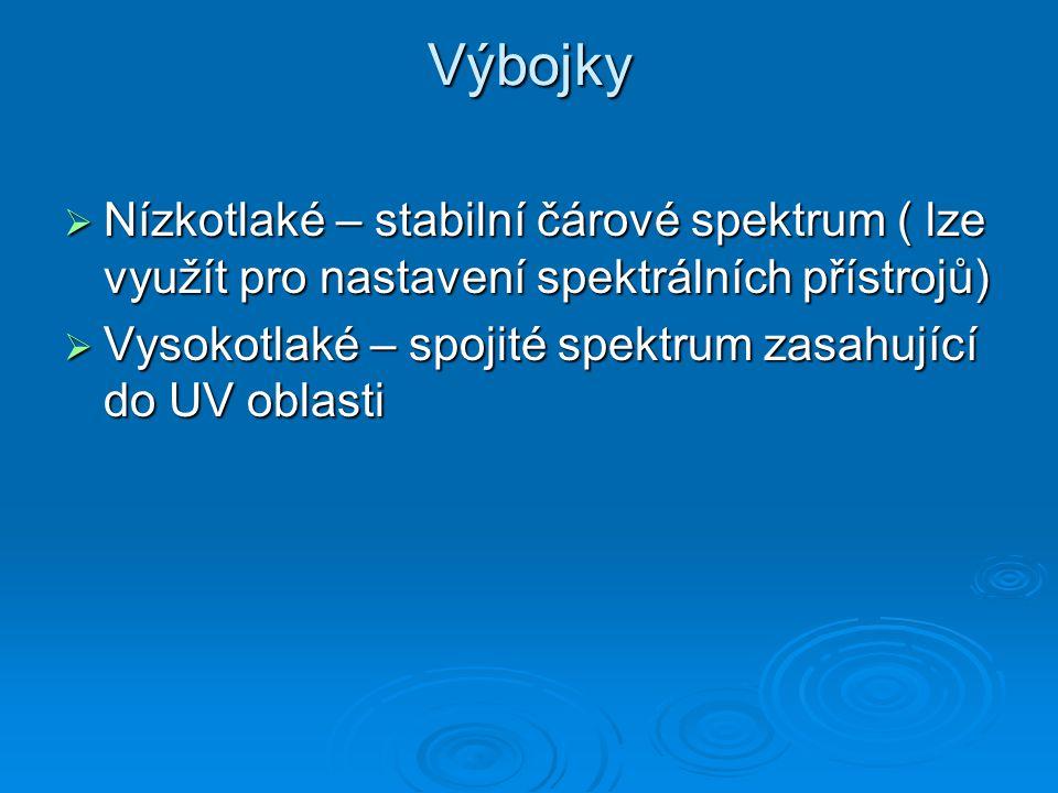Výbojky  Nízkotlaké – stabilní čárové spektrum ( lze využít pro nastavení spektrálních přístrojů)  Vysokotlaké – spojité spektrum zasahující do UV o