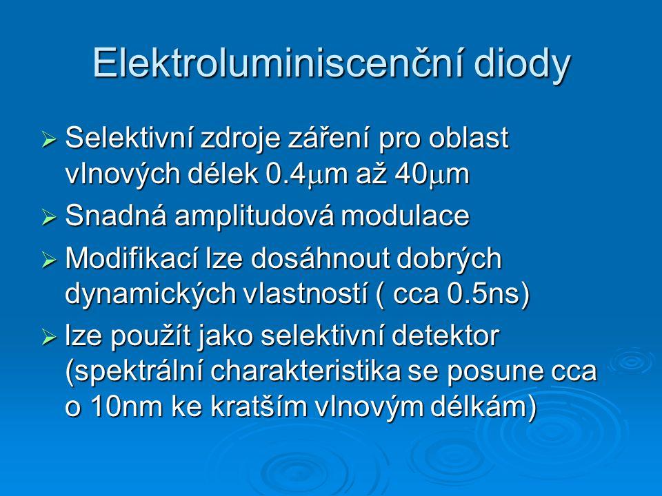 Elektroluminiscenční diody  Selektivní zdroje záření pro oblast vlnových délek 0.4  m až 40  m  Snadná amplitudová modulace  Modifikací lze dosáhnout dobrých dynamických vlastností ( cca 0.5ns)  lze použít jako selektivní detektor (spektrální charakteristika se posune cca o 10nm ke kratším vlnovým délkám)