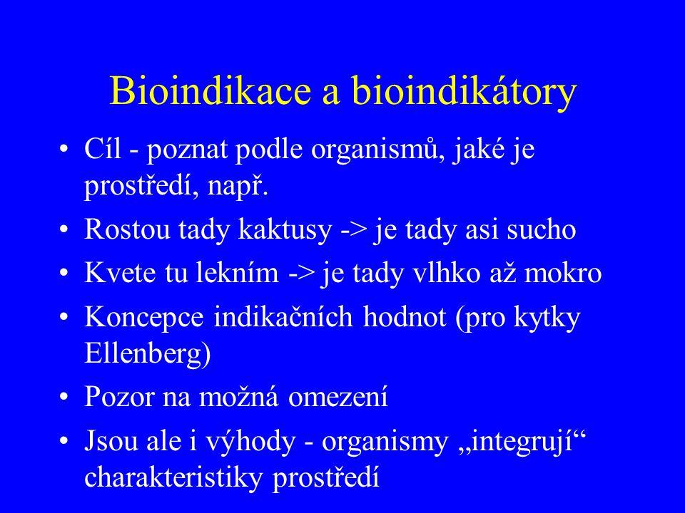 Bioindikace a bioindikátory Cíl - poznat podle organismů, jaké je prostředí, např. Rostou tady kaktusy -> je tady asi sucho Kvete tu lekním -> je tady