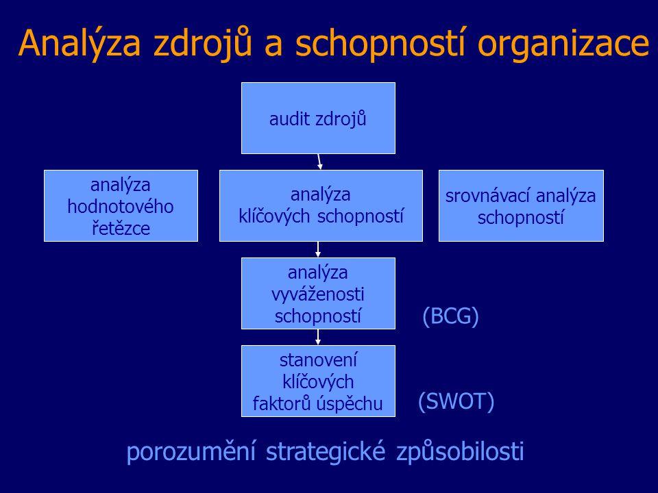 Analýza zdrojů a schopností organizace audit zdrojů srovnávací analýza schopností analýza hodnotového řetězce analýza vyváženosti schopností analýza k