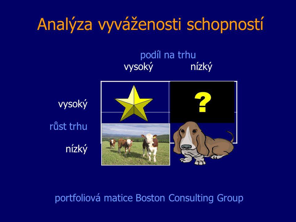 Analýza vyváženosti schopností podíl na trhu vysoký nízký vysoký růst trhu nízký portfoliová matice Boston Consulting Group
