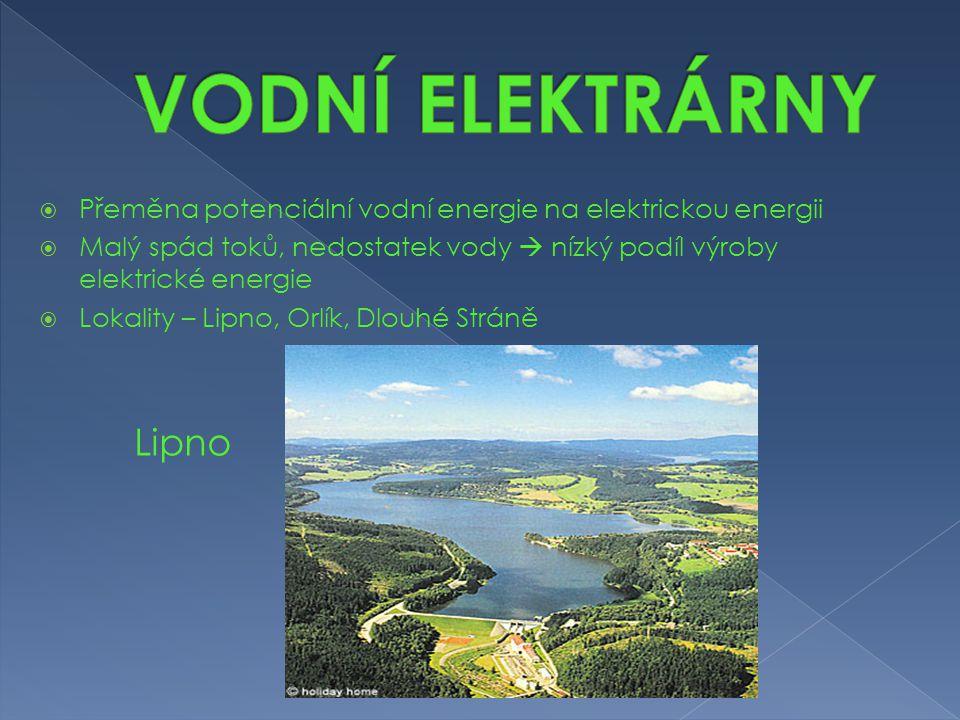  Přeměna potenciální vodní energie na elektrickou energii  Malý spád toků, nedostatek vody  nízký podíl výroby elektrické energie  Lokality – Lipn
