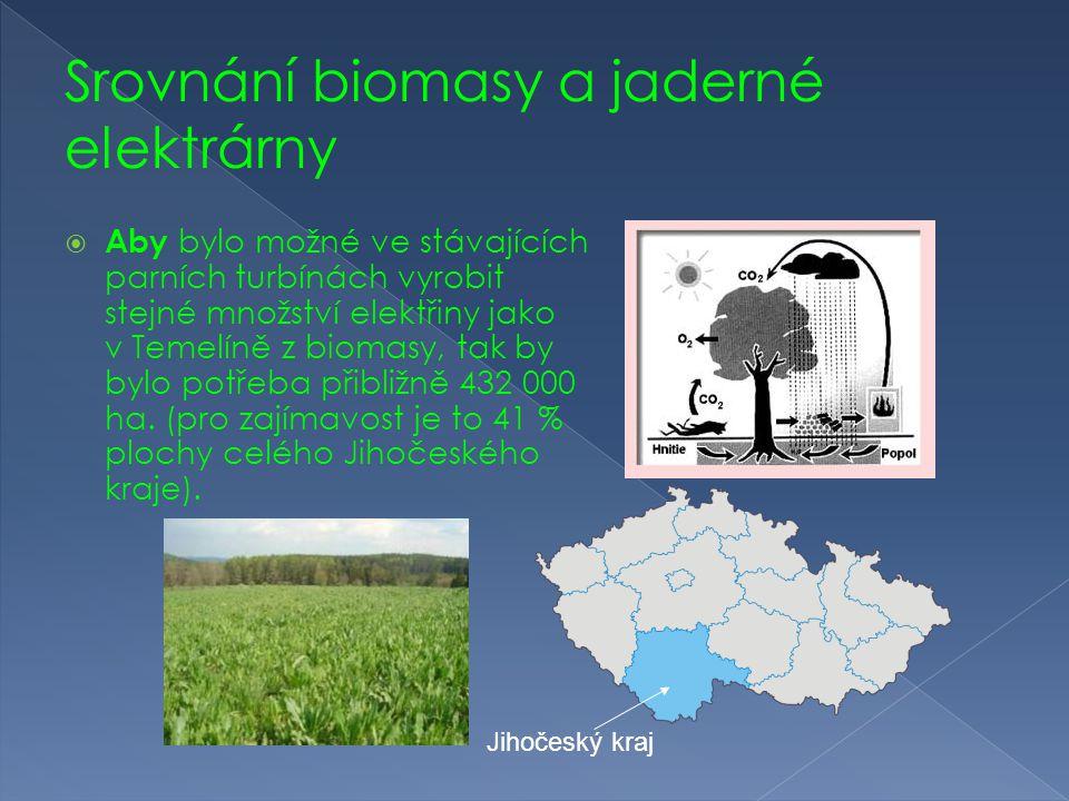 Srovnání biomasy a jaderné elektrárny  Aby bylo možné ve stávajících parních turbínách vyrobit stejné množství elektřiny jako v Temelíně z biomasy, t