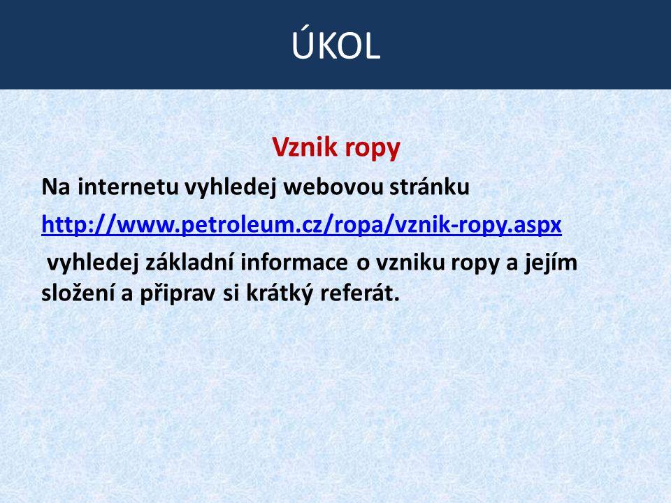 Vznik ropy Na internetu vyhledej webovou stránku http://www.petroleum.cz/ropa/vznik-ropy.aspx vyhledej základní informace o vzniku ropy a jejím složen