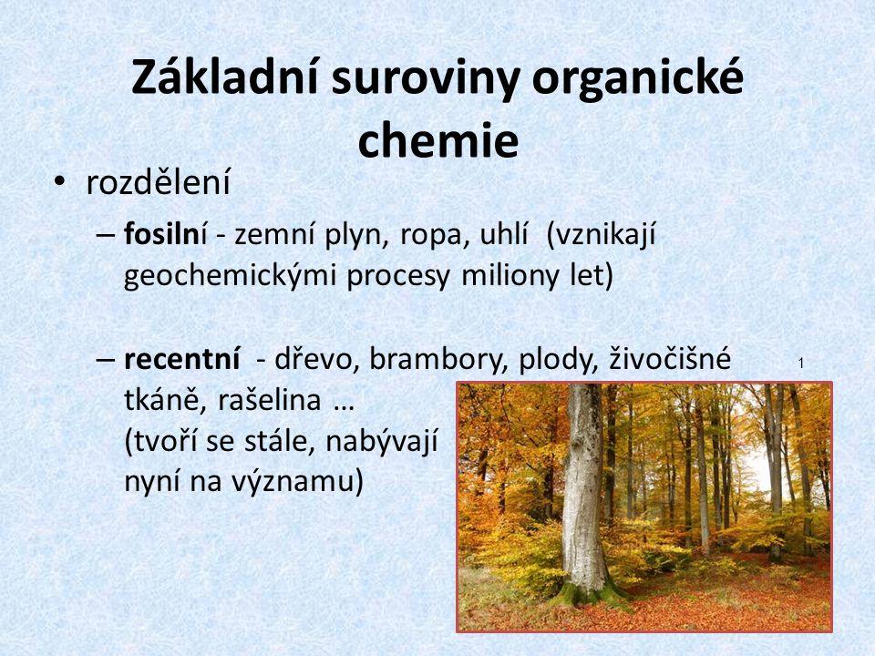 Základní suroviny organické chemie rozdělení – fosilní - zemní plyn, ropa, uhlí (vznikají geochemickými procesy miliony let) – recentní - dřevo, brambory, plody, živočišné tkáně, rašelina … (tvoří se stále, nabývají nyní na významu) 1