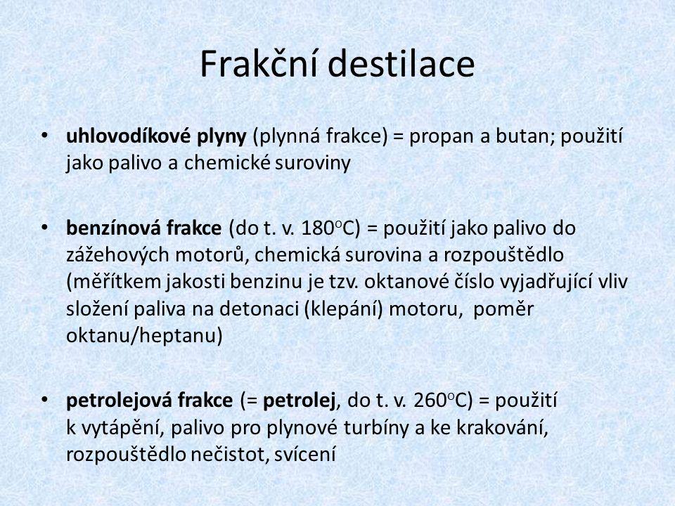 Frakční destilace uhlovodíkové plyny (plynná frakce) = propan a butan; použití jako palivo a chemické suroviny benzínová frakce (do t. v. 180 o C) = p