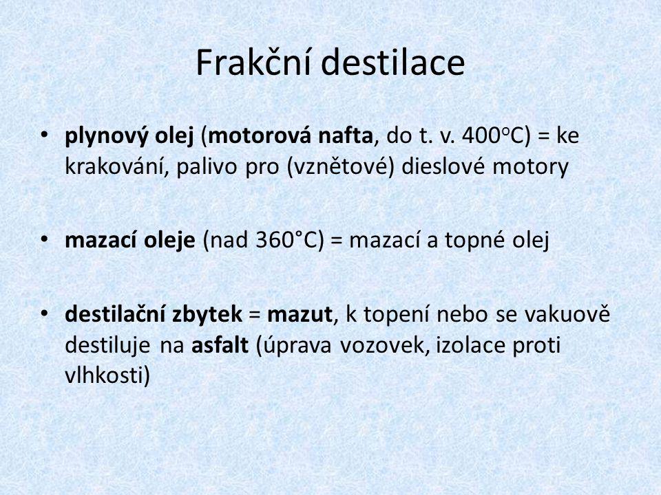 Frakční destilace plynový olej (motorová nafta, do t. v. 400 o C) = ke krakování, palivo pro (vznětové) dieslové motory mazací oleje (nad 360°C) = maz