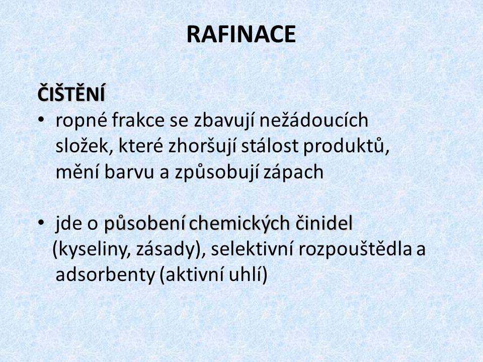 RAFINACE ČIŠTĚNÍ ropné frakce se zbavují nežádoucích složek, které zhoršují stálost produktů, mění barvu a způsobují zápach působení chemických činidel jde o působení chemických činidel (kyseliny, zásady), selektivní rozpouštědla a adsorbenty (aktivní uhlí)
