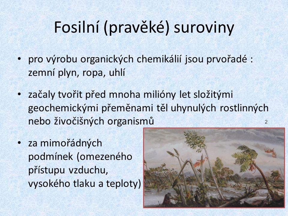 Fosilní (pravěké) suroviny pro výrobu organických chemikálií jsou prvořadé : zemní plyn, ropa, uhlí začaly tvořit před mnoha milióny let složitými geochemickými přeměnami těl uhynulých rostlinných nebo živočišných organismů za mimořádných podmínek (omezeného přístupu vzduchu, vysokého tlaku a teploty) 2