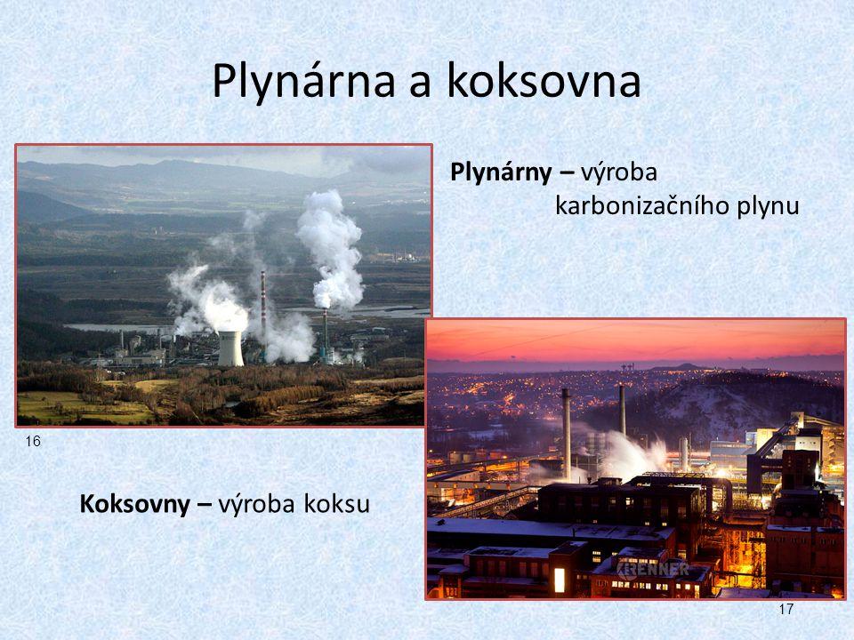 Plynárna a koksovna Plynárny – výroba karbonizačního plynu Koksovny – výroba koksu 16 17