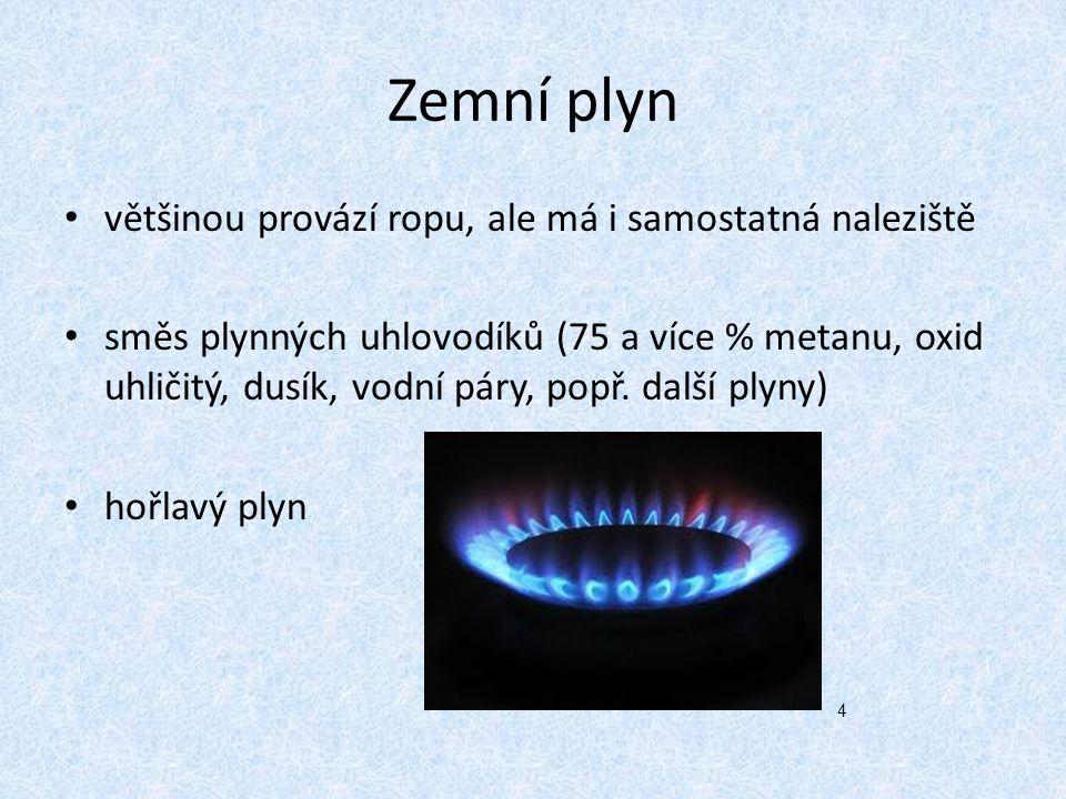 Druhy zemního plynu mokrý: tvořen kromě methanu i uhlovodíky, které se dají zkapalnit (LNG) suchý: tvořen pouze methanem (stlačitelný) CNG kyselý: (obsahuje H 2 S) zemní plyn