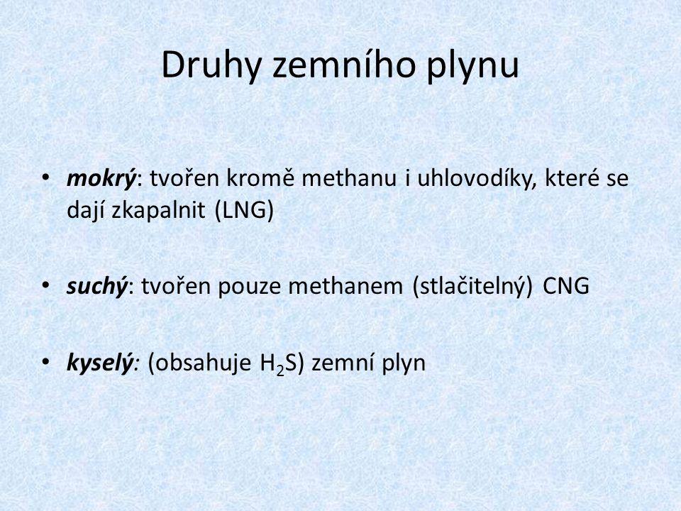 Druhy zemního plynu mokrý: tvořen kromě methanu i uhlovodíky, které se dají zkapalnit (LNG) suchý: tvořen pouze methanem (stlačitelný) CNG kyselý: (ob