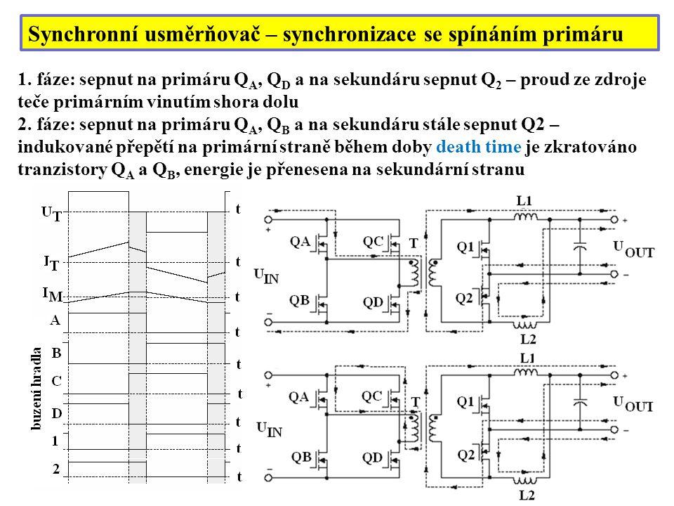 Synchronní usměrňovač – synchronizace se spínáním primáru 1. fáze: sepnut na primáru Q A, Q D a na sekundáru sepnut Q 2 – proud ze zdroje teče primárn