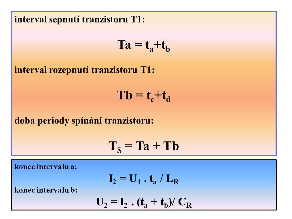 konec intervalu a: I 2 = U 1. t a / L R konec intervalu b: U 2 = I 2. (t a + t b )/ C R interval sepnutí tranzistoru T1: Ta = t a +t b interval rozepn