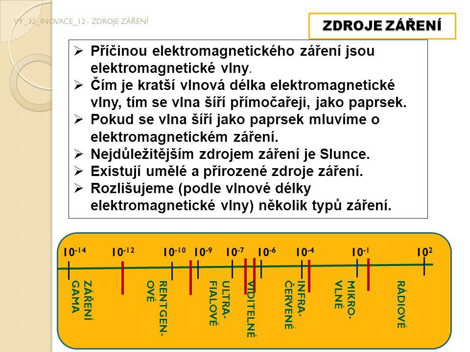 ZDROJE ZÁŘENÍ VY_32_INOVACE_12 - ZDROJE ZÁŘENÍ  Příčinou elektromagnetického záření jsou elektromagnetické vlny.  Čím je kratší vlnová délka elektro