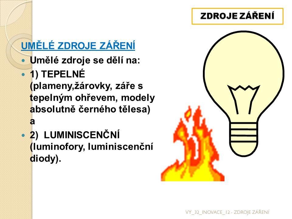 UMĚLÉ ZDROJE ZÁŘENÍ Umělé zdroje se dělí na: 1) TEPELNÉ (plameny,žárovky, záře s tepelným ohřevem, modely absolutně černého tělesa) a 2) LUMINISCENČNÍ (luminofory, luminiscenční diody).
