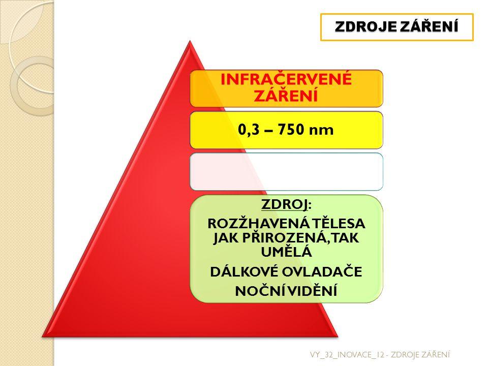 VY_32_INOVACE_12 - ZDROJE ZÁŘENÍ ZDROJE ZÁŘENÍ INFRAČERVENÉ ZÁŘENÍ 0,3 – 750 nm ZDROJ: ROZŽHAVENÁ TĚLESA JAK PŘIROZENÁ, TAK UMĚLÁ DÁLKOVÉ OVLADAČE NOČNÍ VIDĚNÍ