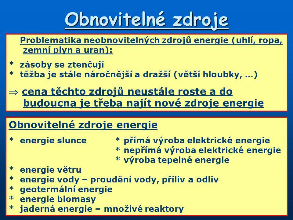 Obnovitelné zdroje Problematika neobnovitelných zdrojů energie (uhlí, ropa, zemní plyn a uran): *zásoby se ztenčují *těžba je stále náročnější a dražší (větší hloubky, …)  cena těchto zdrojů neustále roste a do budoucna je třeba najít nové zdroje energie Obnovitelné zdroje energie *energie slunce*přímá výroba elektrické energie *nepřímá výroba elektrické energie *výroba tepelné energie *energie větru *energie vody – proudění vody, příliv a odliv *geotermální energie *energie biomasy *jaderná energie – množivé reaktory