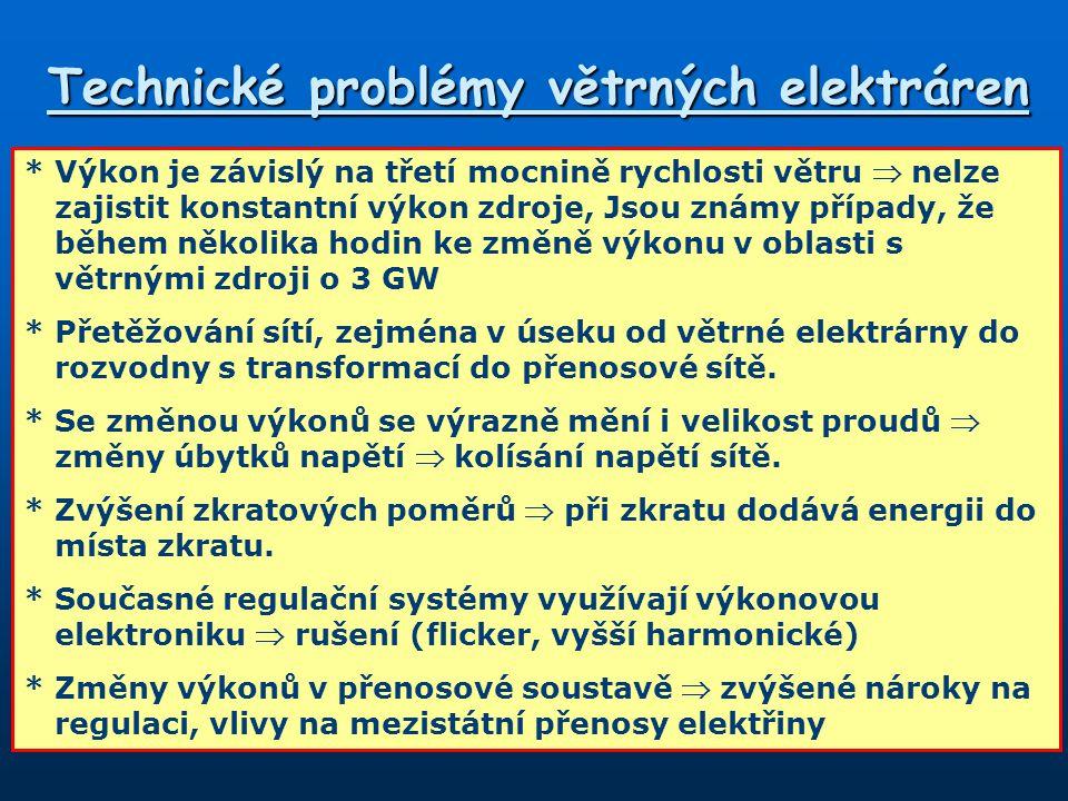Technické problémy větrných elektráren *Výkon je závislý na třetí mocnině rychlosti větru  nelze zajistit konstantní výkon zdroje, Jsou známy případy, že během několika hodin ke změně výkonu v oblasti s větrnými zdroji o 3 GW *Přetěžování sítí, zejména v úseku od větrné elektrárny do rozvodny s transformací do přenosové sítě.