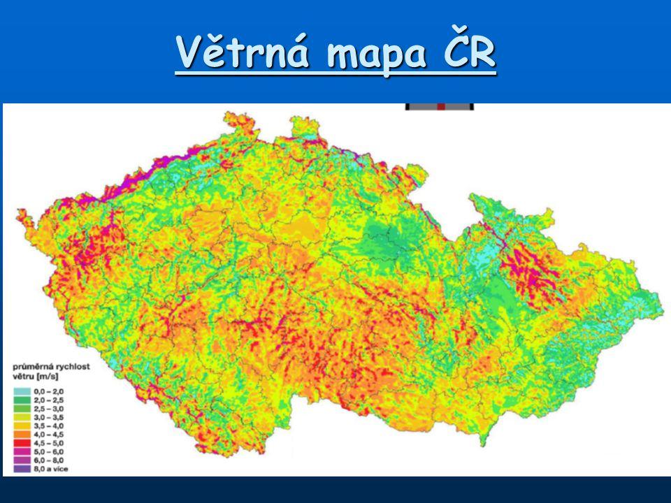 Větrná mapa ČR
