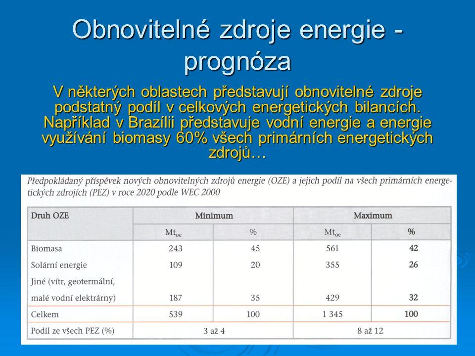 Obnovitelné zdroje energie - prognóza V některých oblastech představují obnovitelné zdroje podstatný podíl v celkových energetických bilancích. Napřík