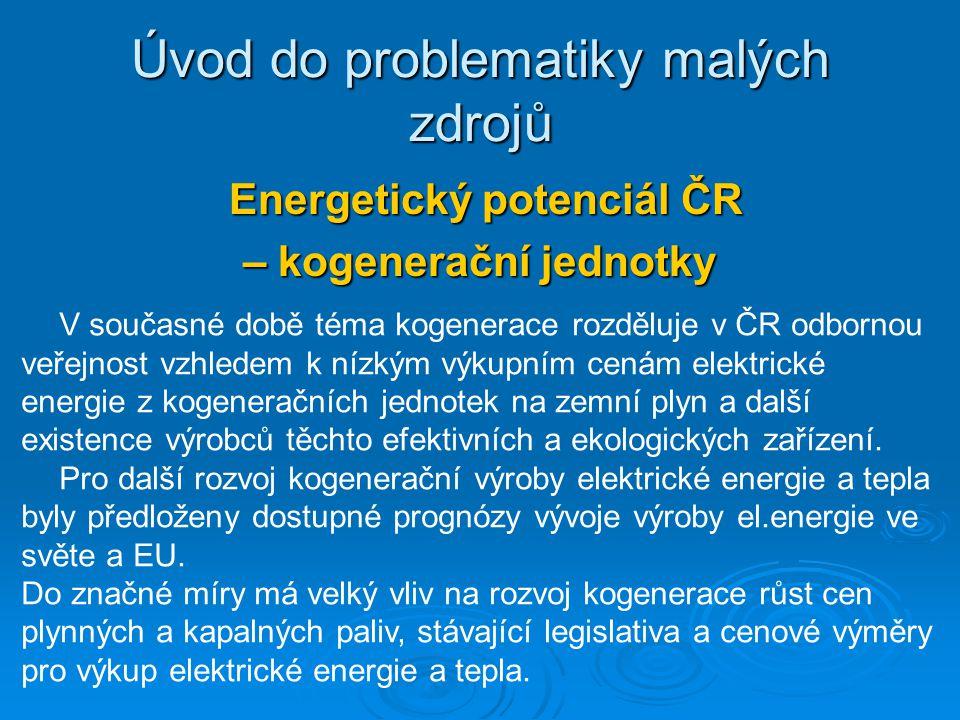Energetický potenciál ČR Energetický potenciál ČR – kogenerační jednotky Úvod do problematiky malých zdrojů V současné době téma kogenerace rozděluje