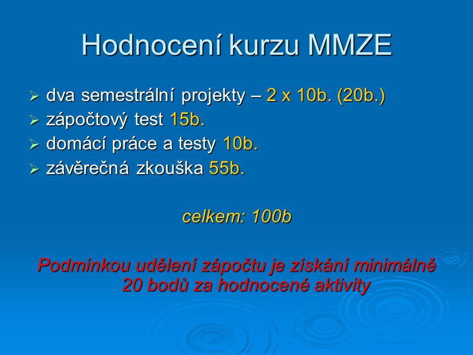 Hodnocení kurzu MMZE  dva semestrální projekty – 2 x 10b. (20b.)  zápočtový test 15b.  domácí práce a testy 10b.  závěrečná zkouška 55b. celkem: 1