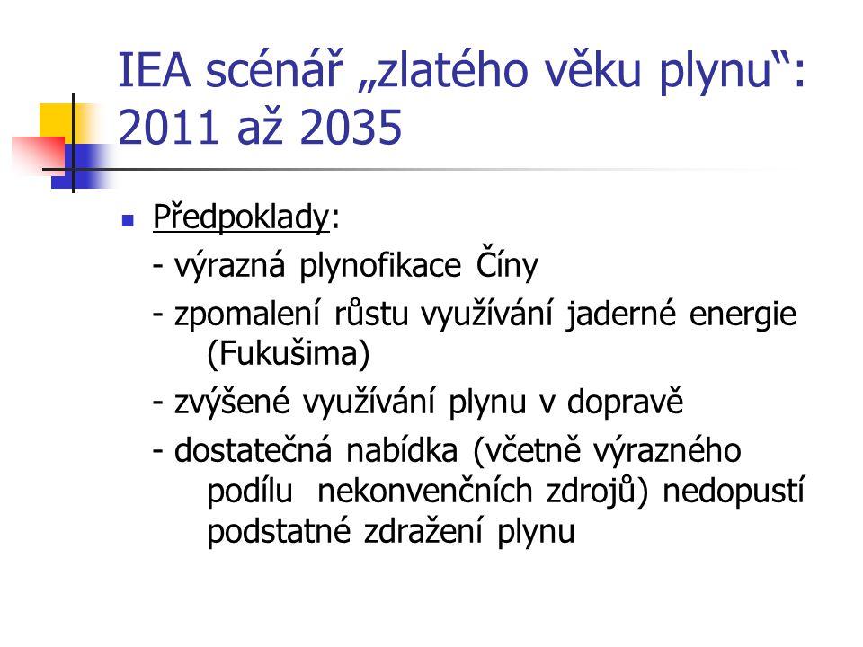 """IEA scénář """"zlatého věku plynu : 2011 až 2035 Předpoklady: - výrazná plynofikace Číny - zpomalení růstu využívání jaderné energie (Fukušima) - zvýšené využívání plynu v dopravě - dostatečná nabídka (včetně výrazného podílu nekonvenčních zdrojů) nedopustí podstatné zdražení plynu"""