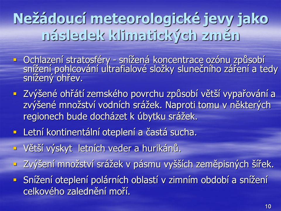 Nežádoucí meteorologické jevy jako následek klimatických změn  Ochlazení stratosféry - snížená koncentrace ozónu způsobí snížení pohlcování ultrafial