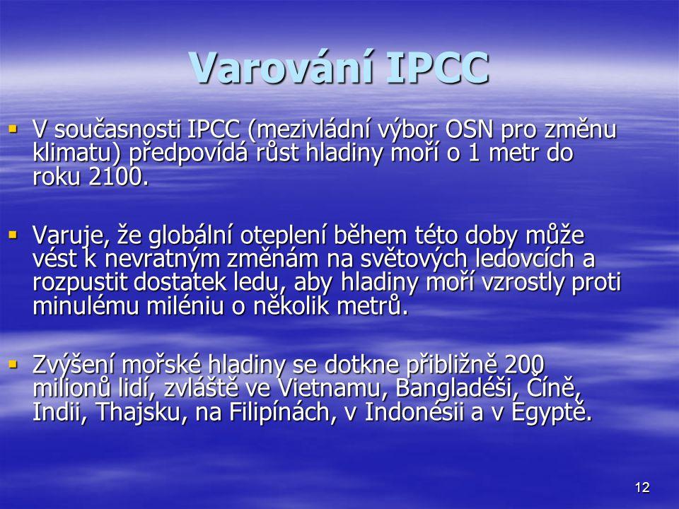 Varování IPCC  V současnosti IPCC (mezivládní výbor OSN pro změnu klimatu) předpovídá růst hladiny moří o 1 metr do roku 2100.  Varuje, že globální