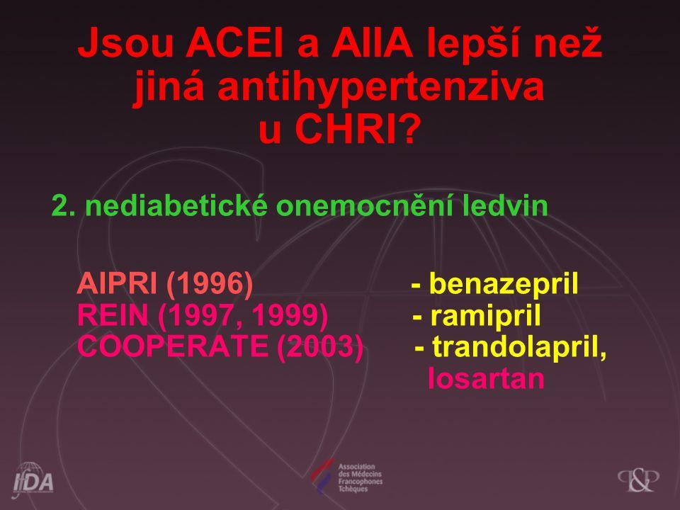 Jsou ACEI a AIIA lepší než jiná antihypertenziva u CHRI? 2. nediabetické onemocnění ledvin AIPRI (1996) - benazepril REIN (1997, 1999) - ramipril COOP