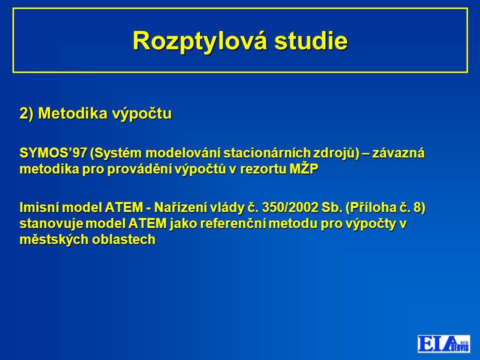 2) Metodika výpočtu SYMOS'97 (Systém modelování stacionárních zdrojů) – závazná metodika pro provádění výpočtů v rezortu MŽP Imisní model ATEM - Nařízení vlády č.